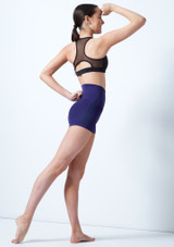 Capezio Teen High Waisted Shorts Blue front. [Blue]