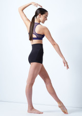 Capezio Teen High Waisted Shorts Black front #2. [Black]