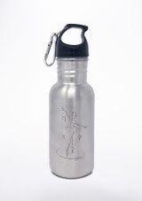 Capezio Girl's Ballerina Water Bottle Silver front. [Silver]