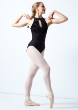 Bloch Open Back Floriade Mesh Leotard Black Front-1 [Black]