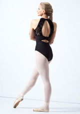 Bloch Open Back Floriade Mesh Leotard Black Back-1 [Black]