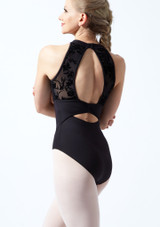 Bloch Open Back Floriade Mesh Leotard Black Back-1T [Black]
