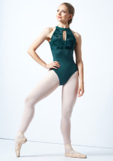 Bloch Open Back Floriade Mesh Leotard Teal Front-1 [Teal]