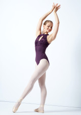 Bloch Open Back Floriade Mesh Leotard Deep Purple Front-1 [Deep Purple]