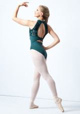 Bloch Open Back Floriade Mesh Leotard Teal Back-1 [Teal]