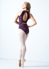 Bloch Open Back Floriade Mesh Leotard Deep Purple Back-1 [Deep Purple]