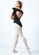 Bloch Cap Sleeve Floriade Mesh Leotard Black Back-1 [Black]