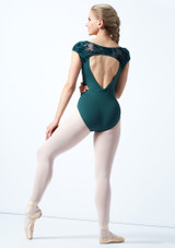 Bloch Cap Sleeve Floriade Mesh Leotard Teal Back-1 [Teal]