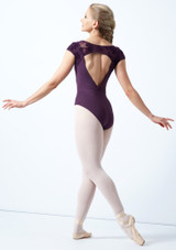 Bloch Cap Sleeve Floriade Mesh Leotard Deep Purple Back-1 [Deep Purple]