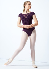 Bloch Cap Sleeve Floriade Mesh Leotard Deep Purple Front-1 [Deep Purple]