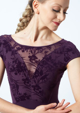 Bloch Cap Sleeve Floriade Mesh Leotard Deep Purple Close up front-1 [Deep Purple]