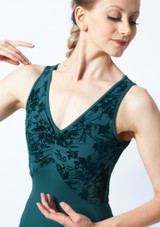 Bloch Tank Sleeve Floriade Mesh Leotard Teal Close up front-1 [Teal]