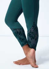 Bloch Floriade Mesh 7/8 Dance Leggings Teal Close up front-1 [Teal]