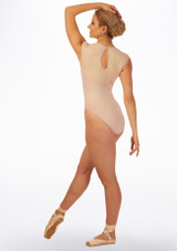 Basilica Asymmetric Lace Cap Sleeve Leotard Pink back. [Pink]