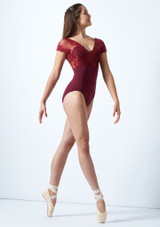 So Danca Floral Tulle Cap Sleeve Leotard Red front. [Red]
