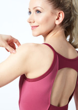 Bloch Naila Open Back Camisole Leotard Pink front #2. [Pink]