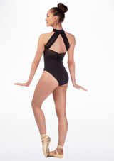 Intermezzo Open Back Turtleneck Leotard Black back. [Black]