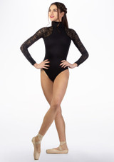 Basilica Lace Turtleneck Leotard Black front. [Black]