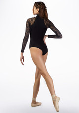 Basilica Lace Turtleneck Leotard Black back. [Black]