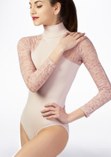 Basilica Lace Turtleneck Leotard Pink front. [Pink]
