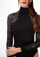 Basilica Lace Turtleneck Leotard Black front #2. [Black]