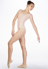 Basilica Lace Sleeve Leotard Pink front. [Pink]