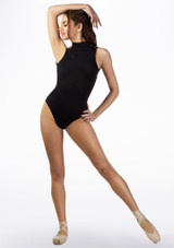 Basilica Monochrome Floral Open Back Leotard Black front. [Black]