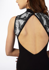 Basilica Monochrome Floral Open Back Leotard Black back #2. [Black]