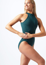 Bloch Zip Up Open Back Leotard* Green front. [Green]