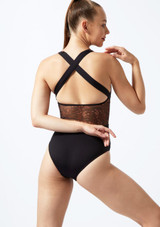 Bloch Aurelia Mesh Cross Back Leotard* Black front. [Black]