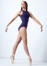 So Danca Mesh Panel Leotard Blue front. [Blue]