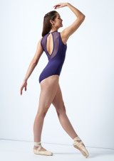 So Danca Mesh Panel Leotard Blue back. [Blue]