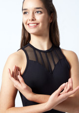 So Danca Mesh Panel Leotard Black front #2. [Black]
