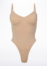 Bloch Seamless Thong Bodysuit Tan front. [Tan]
