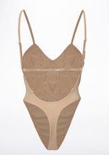 Bloch Seamless Thong Bodysuit Tan back. [Tan]