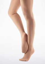 Capezio Footed Dance Tights Light Suntan Brown front. [Brown]