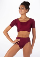 Alegra Shiny Odele Dance Top Red front. [Red]