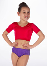 Alegra Girls Shiny Odele Dance Crop Top Red front #2. [Red]