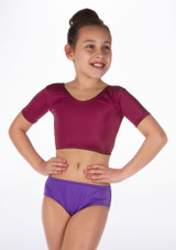 Alegra Girls Shiny Odele Dance Crop Top Red front. [Red]