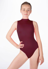 Alegra Girls Shiny Verity Leotard Red front. [Red]