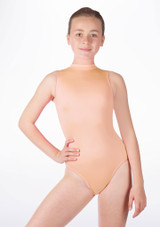 Alegra Girls Shiny Verity Leotard Tan front. [Tan]