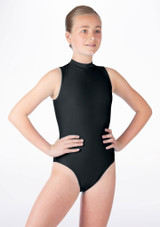 Alegra Girls Shiny Verity Leotard Black front. [Black]