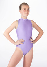 Alegra Girls Shiny Verity Leotard Purple front. [Purple]
