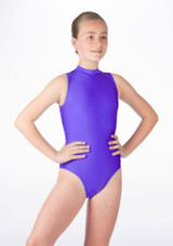 Alegra Girls Shiny Verity Leotard Purple front #2. [Purple]