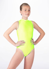Alegra Girls Shiny Verity Leotard Yellow front. [Yellow]