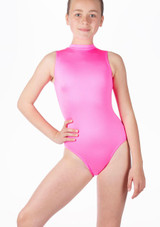 Alegra Girls Shiny Verity Leotard Pink front. [Pink]