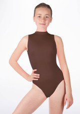 Alegra Girls Shiny Verity Leotard Brown front. [Brown]