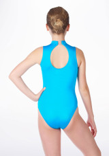 Alegra Girls Shiny Verity Leotard Blue back. [Blue]