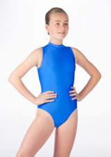 Alegra Girls Shiny Verity Leotard Blue front. [Blue]
