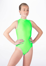 Alegra Girls Shiny Verity Leotard Green front. [Green]